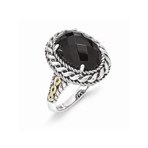 Sterling Silver with 14k Gold with Simulated Antiqued Onyx Ring Size-7 - $82.00
