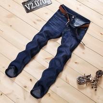 Autumn Winter 2018 Male Dark Blue Skinny Jeans Shorts Men's Clothing Trend Slim  - $27.54