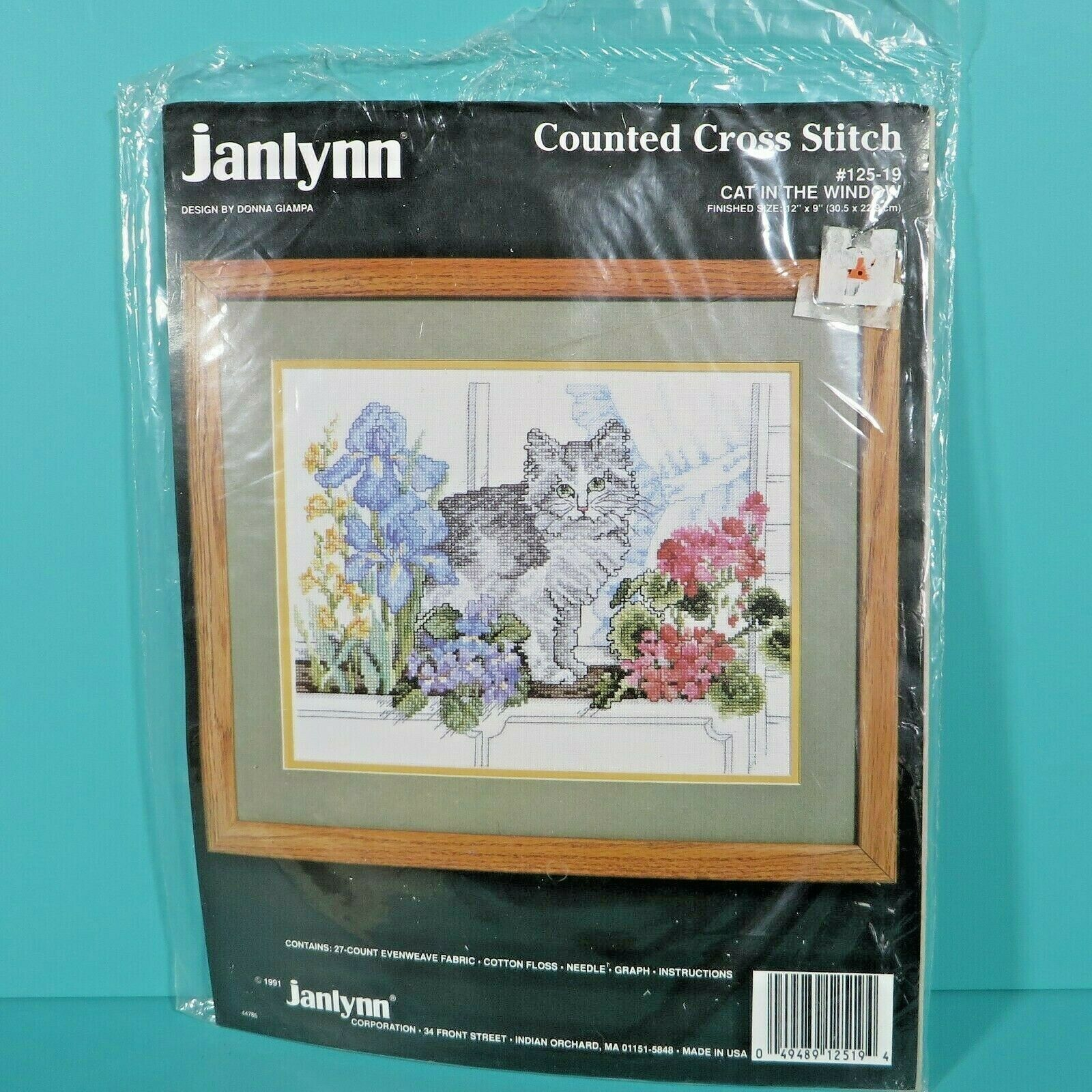 "Primary image for Janlynn Cat In The Window Counted Cross Stitch 12"" x 9"" Donna Giampa Kit #125-19"