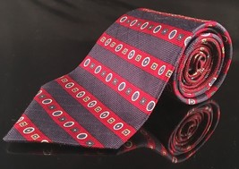 Tommy Hilfiger Red White Blue Geometric Woven Tie Classic Striped - $14.38