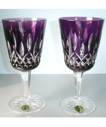 Waterford Lismore Amethyst Goblet Set Of 2 Cased Crystal 40000647 New in... - $496.90