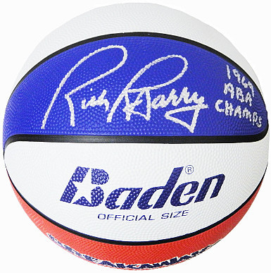 Rick Barry signed Baden Official Size ABA Red, White & Blue Basketball 69 ABA Ch