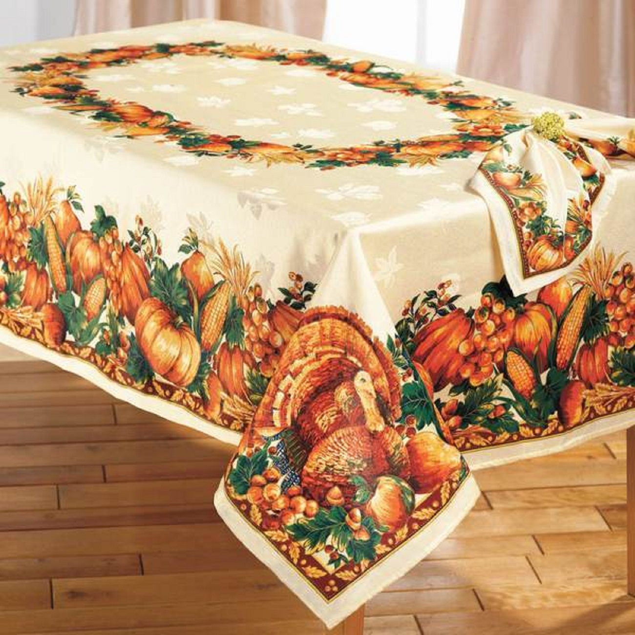 Primary image for ELEGANT THANKSGIVING TURKEY HARVEST TABLECLOTH