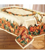 ELEGANT THANKSGIVING TURKEY HARVEST TABLECLOTH  - $65.99