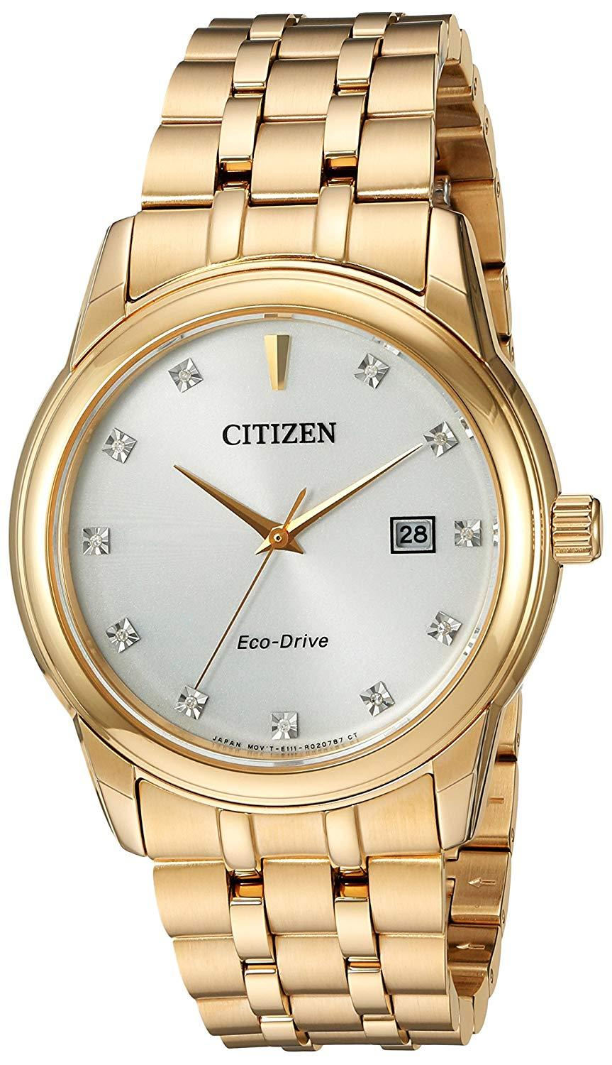 Citizen Men's Eco-Drive Stainless Steel GoldTone Diamond Accent Watch BM7342-50A