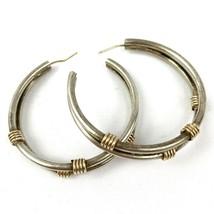 Vintage Sterling Silver 925 Double Strand Hoop Pierced Earrings 13.2g 1.... - $64.77