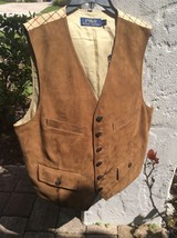 $1095.00 Bloomingdales's Polo Ralph Lauren Goat Suede Vest Hunter Brown XL - $589.05