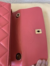 AUTH CHANEL QUILTED LAMBSKIN CORAL PINK TRENDY CC 2 WAY HANDLE FLAP BAG GHW image 8