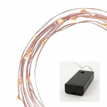 Philips 30ct Christmas LED Dewdrop Lights Battery Operated Warm White Pink Wire image 4