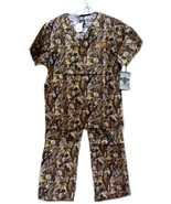 Camo Scrub Set S Med Couture Peaches Uniforms Unisex Natural Disguise New - $31.01