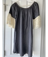 Umgee Dress Sz Small Cool Gray Denim With Lace Short Sleeves Festival Co... - $24.74