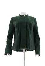 Isaac Mizrahi Suede Jacket Lamb Leather Quilteds Deep Evergreen 10 NEW A... - $108.88