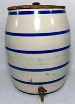 VINTAGE 5 GALLON BLUE STRIPED CROCK W/ LID AND DISPENSER - $138.60