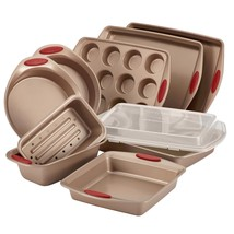 Nonstick Bakeware Set 10 Piece Rachael Ray Latte Brown with Cranberry Re... - $157.97