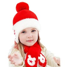 Baby Toddler Fleece Lined Knit Kids Beanie with Earflap Winter Hat and Scarf Set