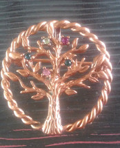 Vintage Family Tree of Life Rhinestone Birthstones Pin Brooch Can Be Pen... - €3,41 EUR
