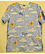 Disney Winnie The Pooh Eeyore Scrub Top V Neck Nurse Medical Small - $16.82