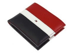 Tommy Hilfiger Men's Leather Wallet Passcase Billfold Rfid Red Navy 31TL220053 image 2