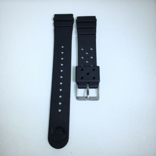 22MM Replacement Black Band Strap Rubber Vent fits SEIKO DIVER Watch w/ pin - $10.39
