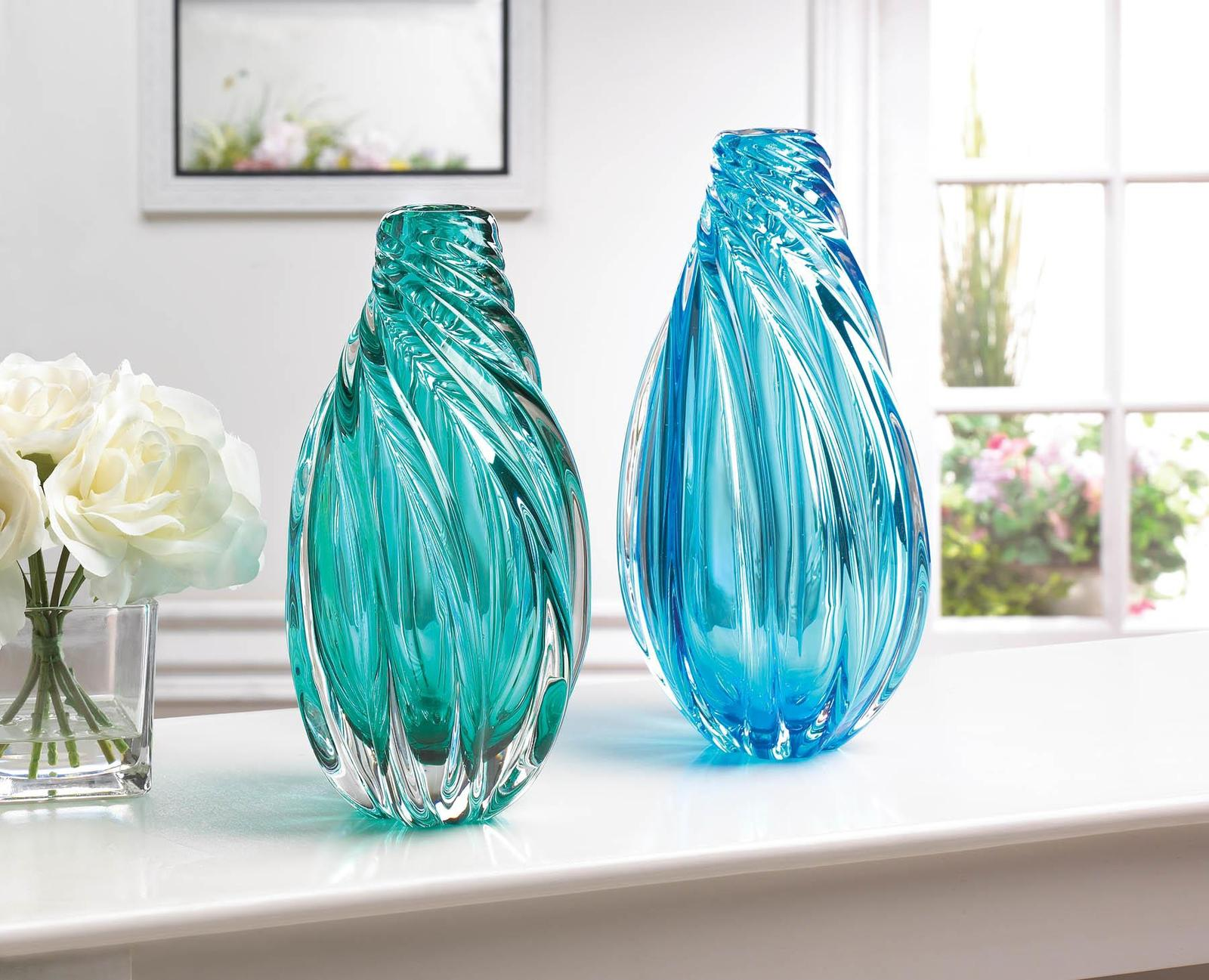Ocean Aqua Spiral Art Glass Vase