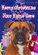 Boxer Dog Merry Christmas Personalised Greeting Card Xmas codeXM122 - $4.42