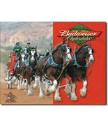 Budweiser Clydesdales Anheuser-Busch Beer Tin Metal Sign High Quality US... - $17.77