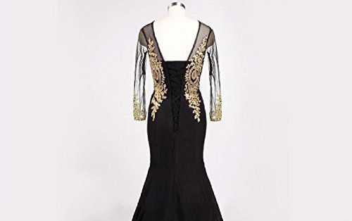 Vintage Sheer Long Sleeves Mermaid Gold Lace Corset Prom Evening Dresses Royal B