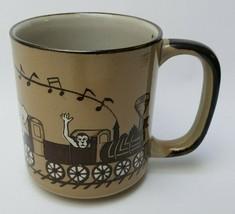 Otagiri Original Coffee Mug Cup Handpainted Train Animals Multi-Color Japan - $49.45