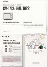 Vintage 1978 Sony Trinitron KV-1713-1911-1922 Color Tv Manual,Schematics, Tag - $13.99
