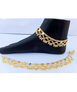 ANKLET BRACELET 22k GOLD PLATED PAYAL SET BOLLYWOOD Fashion INDIAN JEWEL... - $19.48