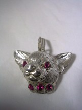 CHIHUAHUA PENDANT WITH RUBY RED  CZ COLLAR AND EYES SET  IN STERLING SIL... - $39.55