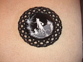 Westmoreland Black Glass Plate. Painted. Girl With Dog on sled. Lace Pat... - $11.87