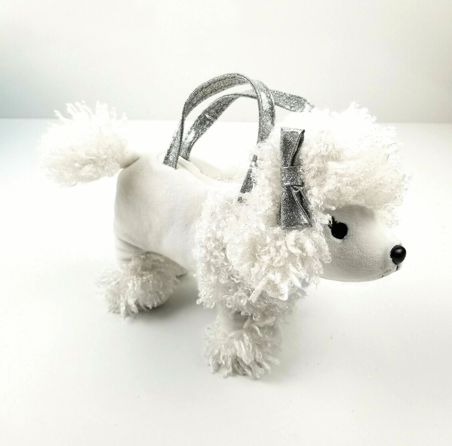 Gymboree Posh and Playful Sophie White Poodle Purse Girls w/ Glitter Handles Bow - $9.99