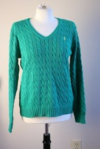 Ralph Lauren XL Kelly Green 100% Cotton Cable Knit V-Neck Sweater - $43.70
