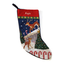 Lands End Needlepoint Christmas Stocking KAYLA Deer Fawn Monogrammed New - $23.71
