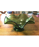 Vintage Murano green Italian art glass bowl from 1960s home decoration r... - $85.00