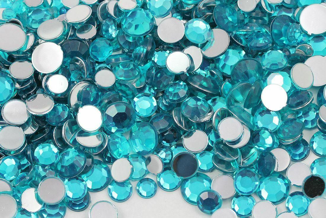 Acrylic Rhinestones Flat Back Blue Zircon Mixed 6 Sizes 540 Pcs For DIY Crafts