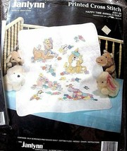 Stamped X Stitch Janlynn Happy Time Animals Crib Cover Quilt B1 - $36.45