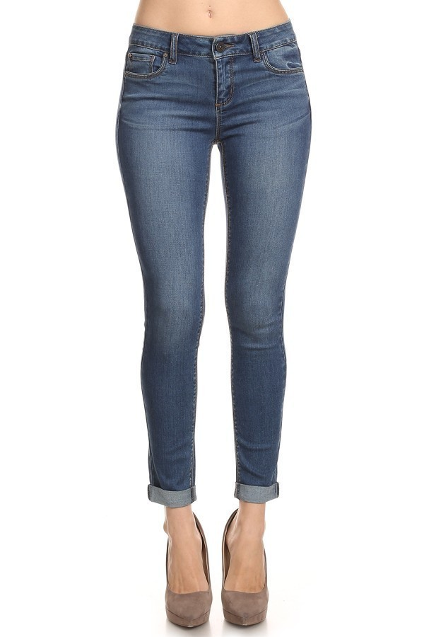 Medium Vintage Wash Stretch Skinny Jeans, Denim Ankle Pants, Cuffed Ankle Jeans