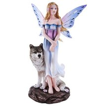 Butterfly Winged Fairy with Lone Wolf 9.5 Inch Collectible Figurine - £36.42 GBP