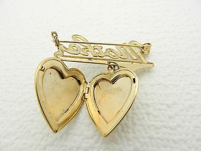 Vintage Gold Tone Chicago Natural History Museum Mother Locket Brooch Pin