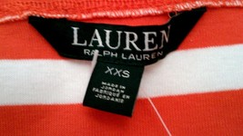 LAUREN Ralph Lauren Women Boat Neck Folded S/S Orange/White Striped T-Sh... - $39.95