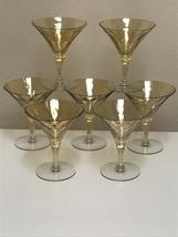 Glastonbury Lotus Catalina Amber Iridescent Optic Glass 7 Champagne Tall... - $94.99
