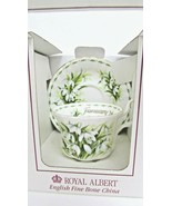 ROYAL ALBERT FLOWER OF THE MONTH JANUARY SNOW DROPS CUP & SAUCER NEW NIB - $34.65