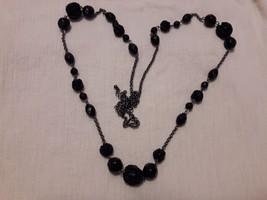 Vintage AVON Black Statement Necklace -  multifaceted plastic beads & Se... - $14.99