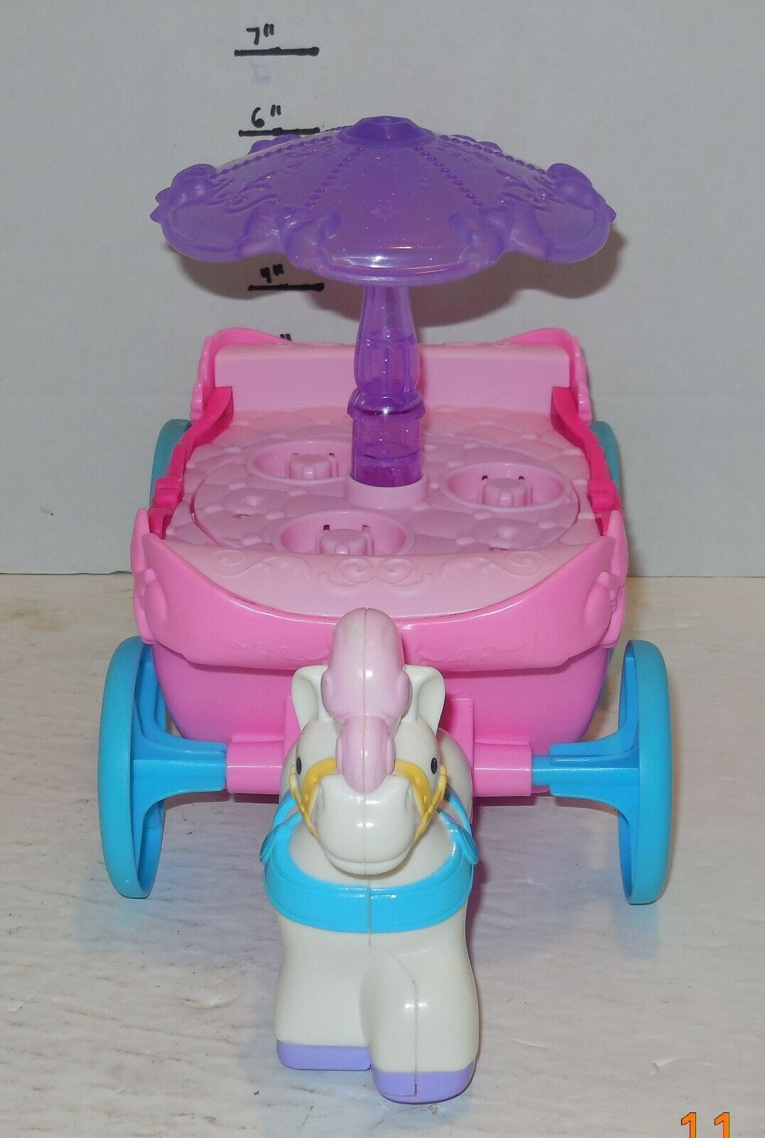 Fisher Price Disney Little People Pink Purple Princess Carriage Carousel Musical image 2