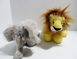 2 Ganz Webkinz Stuffed Plush Animals Yellow Lion & Gray Elephant Toys No... - $9.48