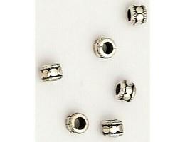 Silver Spacer Beads, Barrel Shape, Set of 6