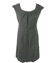 Karin Stevens Petites Womens 6P Cap Sleeves Sheath Dress Brown Pleated N... - $9.59