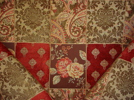 20Y SWAVELLE MILL CREEK RED GOLD FLORENTINE DAMASK CHENILLE UPHOLSTERY F... - $348.48